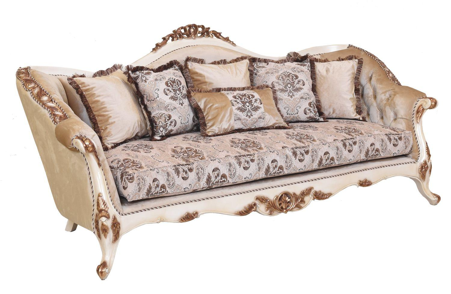 Classic  Traditional Beige  Gold  Antique Wood  Solid Hardwood and Fabric Sofa EUROPEAN FURNITURE 37008-S