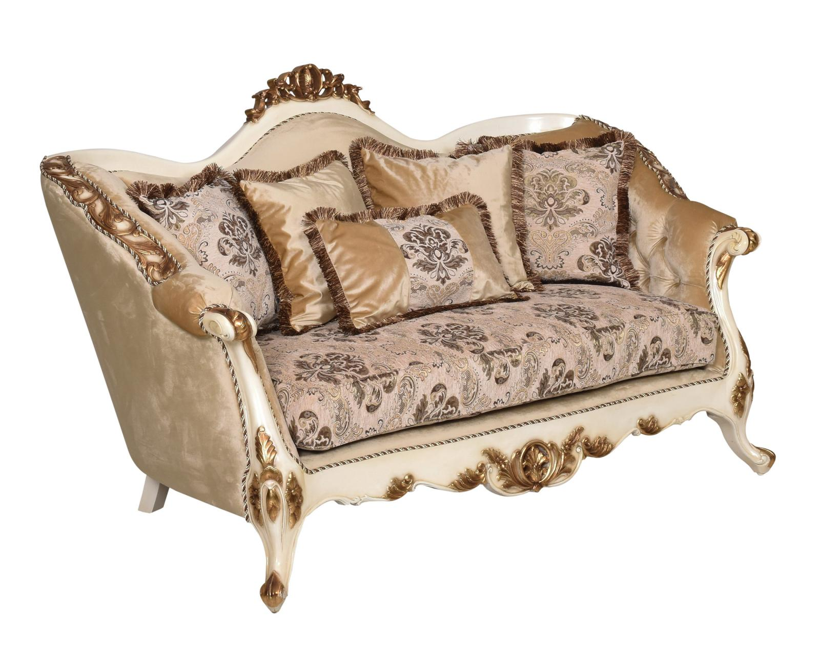 Classic  Traditional Beige  Gold  Antique Wood  Solid Hardwood and Fabric Loveseat EUROPEAN FURNITURE 37008-L