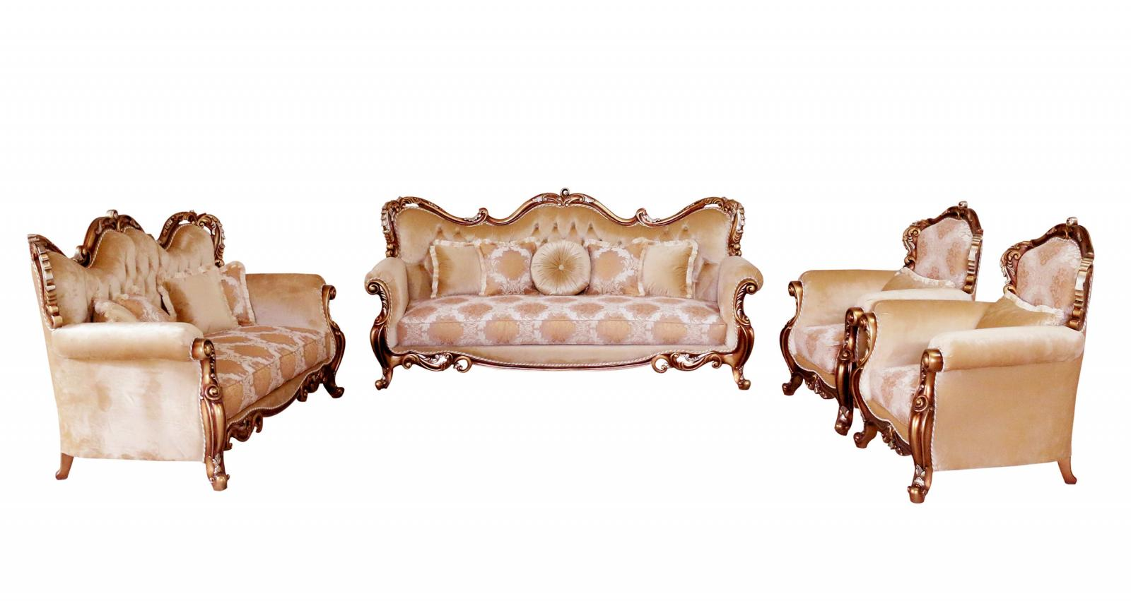 Classic  Traditional Brown  Gold  Silver  Antique Wood  Solid Hardwood and Fabric Sofa Set EUROPEAN FURNITURE 38994-S-Set-4
