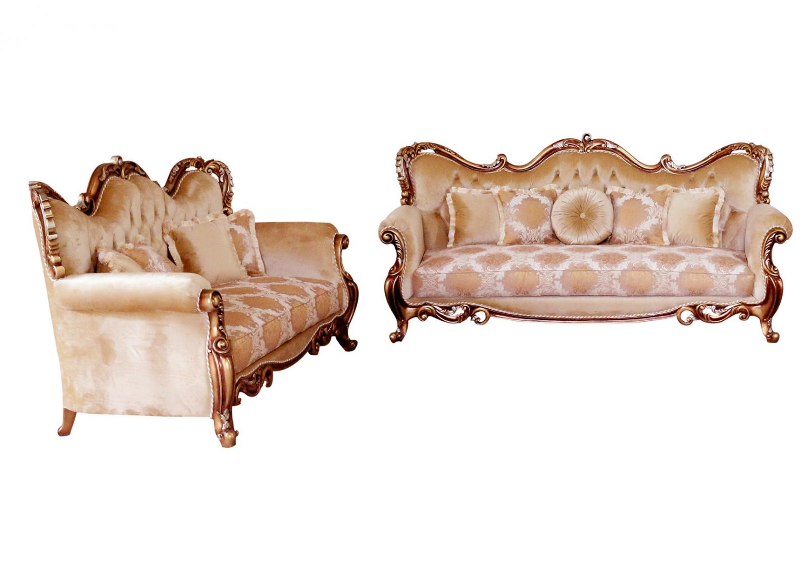 Classic  Traditional Brown  Gold  Silver  Antique Wood  Solid Hardwood and Fabric Sofa Set EUROPEAN FURNITURE 38994-S-Set-2