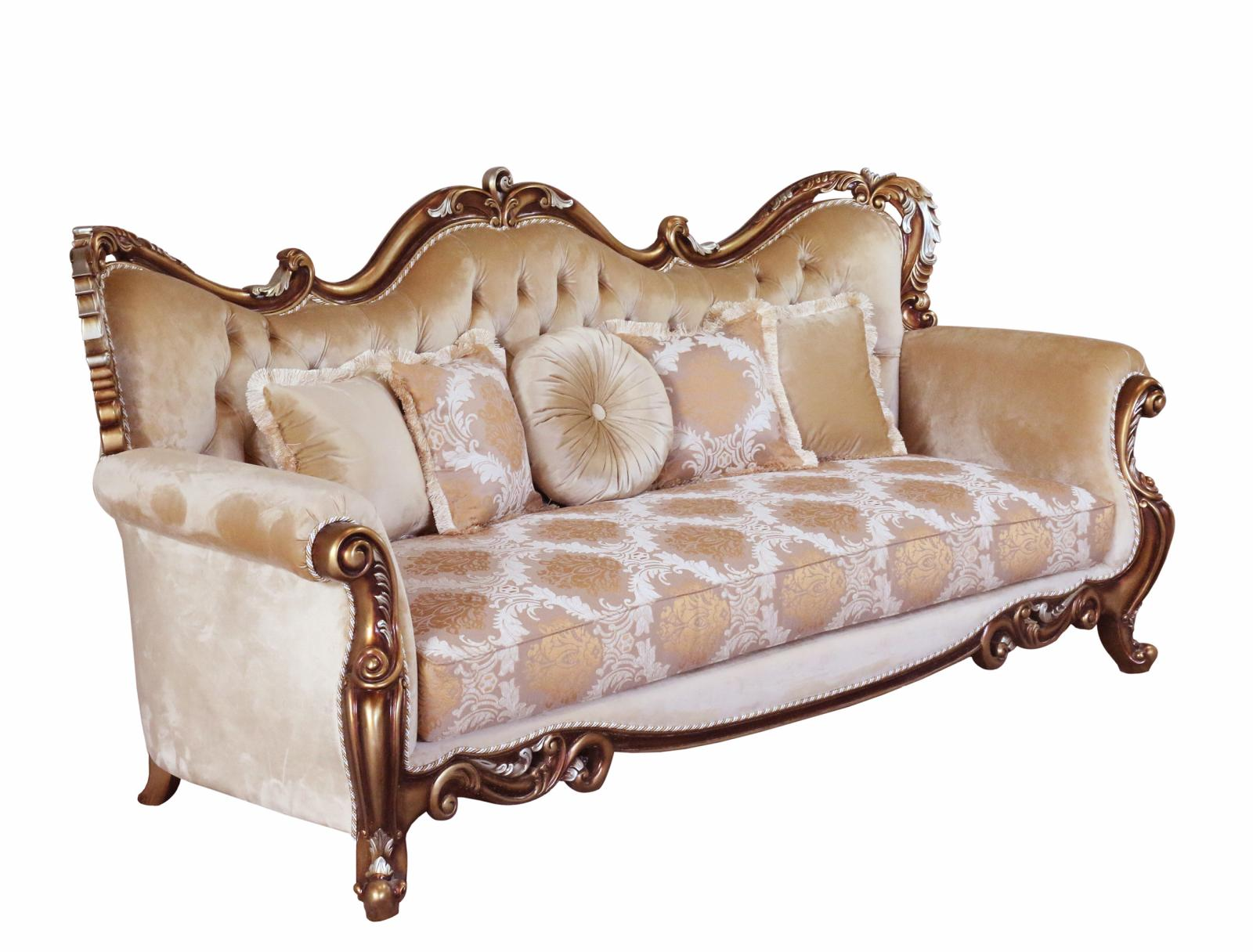 Classic  Traditional Brown  Gold  Silver  Antique Wood  Solid Hardwood and Fabric Sofa EUROPEAN FURNITURE 38994-S