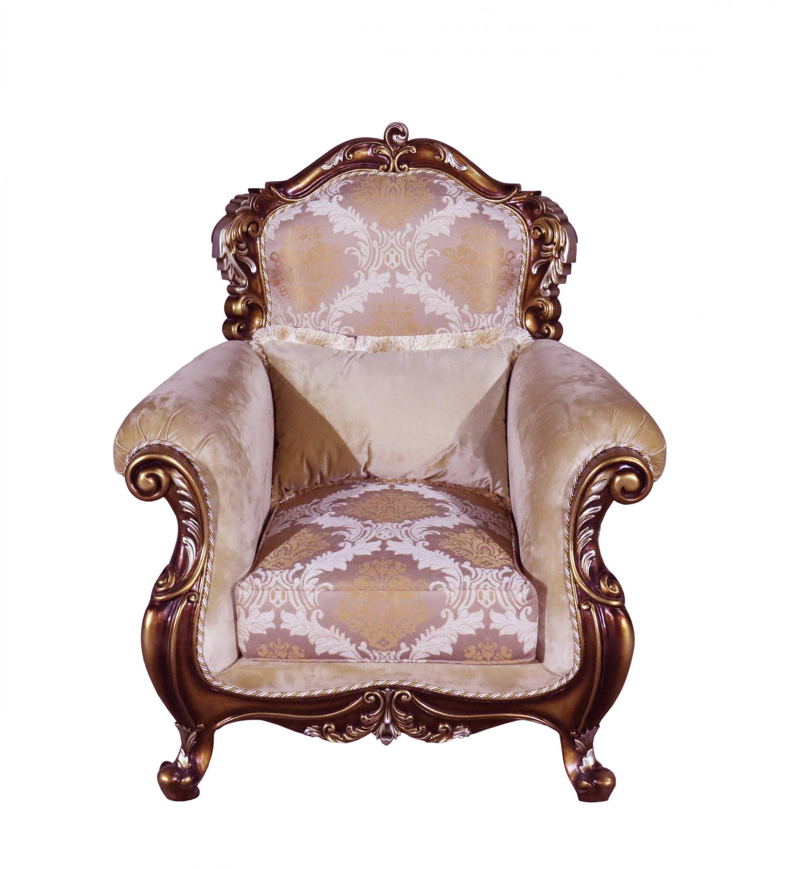 Classic  Traditional Brown  Gold  Silver  Antique Wood  Solid Hardwood and Fabric Arm Chair EUROPEAN FURNITURE 38994-C