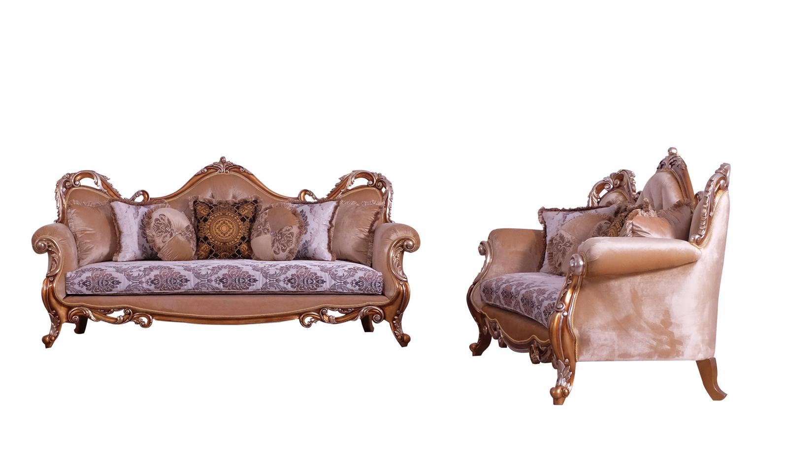 Classic  Traditional Gold  Silver  Antique   Black Wood  Solid Hardwood and Fabric Sofa Set EUROPEAN FURNITURE 38996-S-Set-2