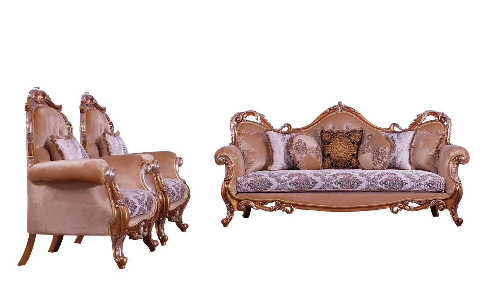 Classic  Traditional Gold  Silver  Antique   Black Wood  Solid Hardwood and Fabric Sofa Set EUROPEAN FURNITURE 38996-S-Set-3