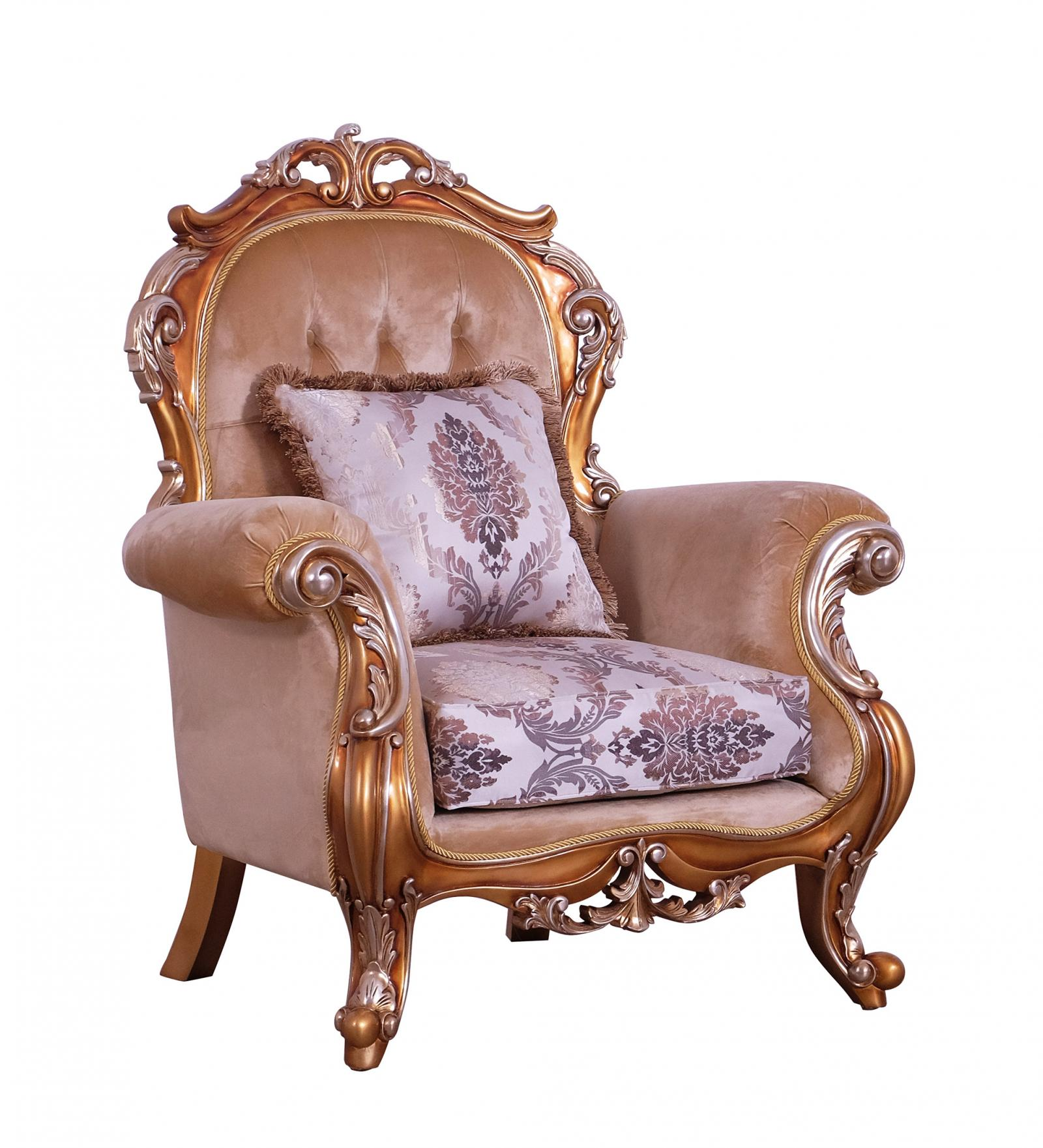 Classic  Traditional Gold  Silver  Antique   Black Wood  Solid Hardwood and Fabric Arm Chair EUROPEAN FURNITURE 38996-C
