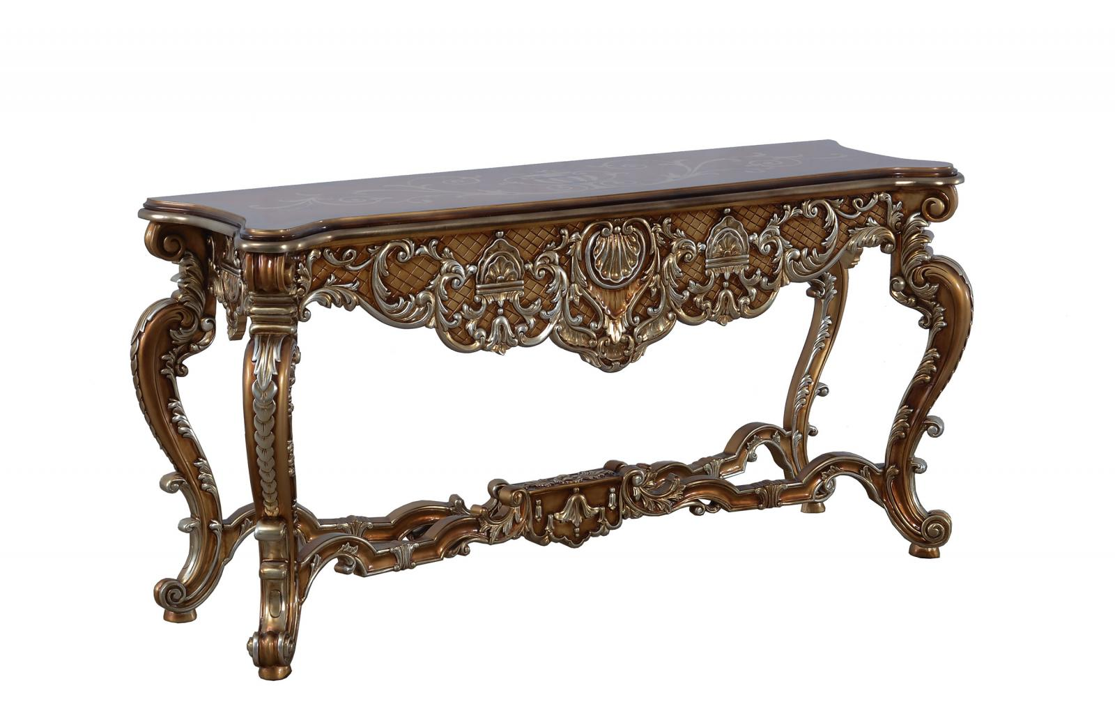 Classic  Traditional Brown  Gold  Silver  Antique Wood  Solid Hardwood and  Console Table EUROPEAN FURNITURE 35550-ST