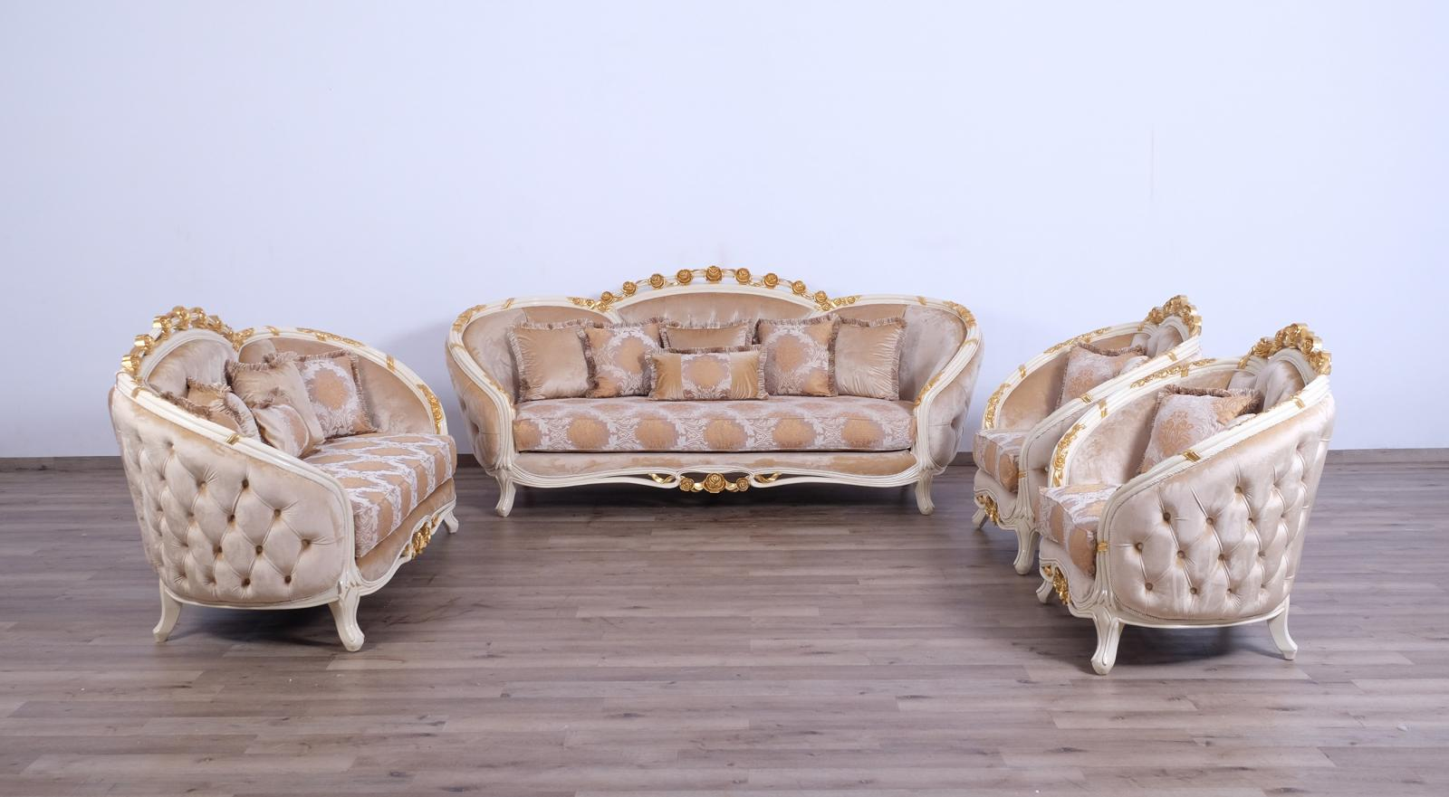 Classic  Traditional Beige  Gold Wood  Solid Hardwood and Fabric Sofa Set EUROPEAN FURNITURE 45010-S-Set-4