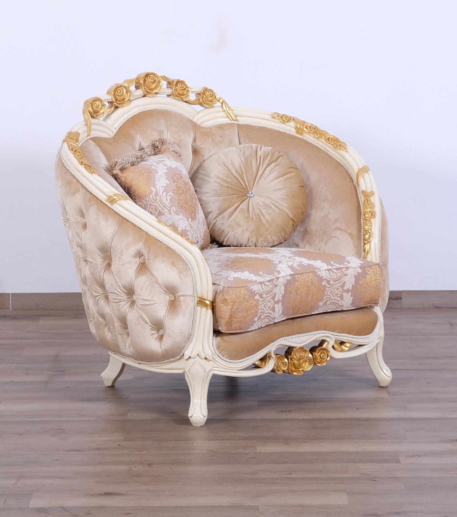 Classic  Traditional Beige  Gold Wood  Solid Hardwood and Fabric Arm Chair EUROPEAN FURNITURE 45010-C