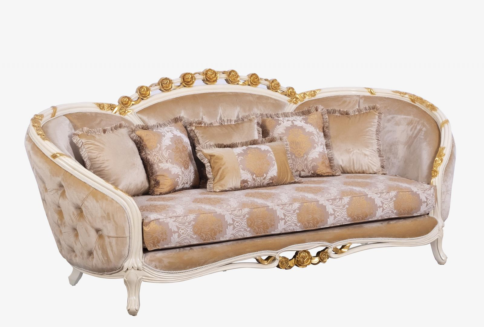 Classic  Traditional Beige  Gold Wood  Solid Hardwood and Fabric Sofa EUROPEAN FURNITURE 45010-S
