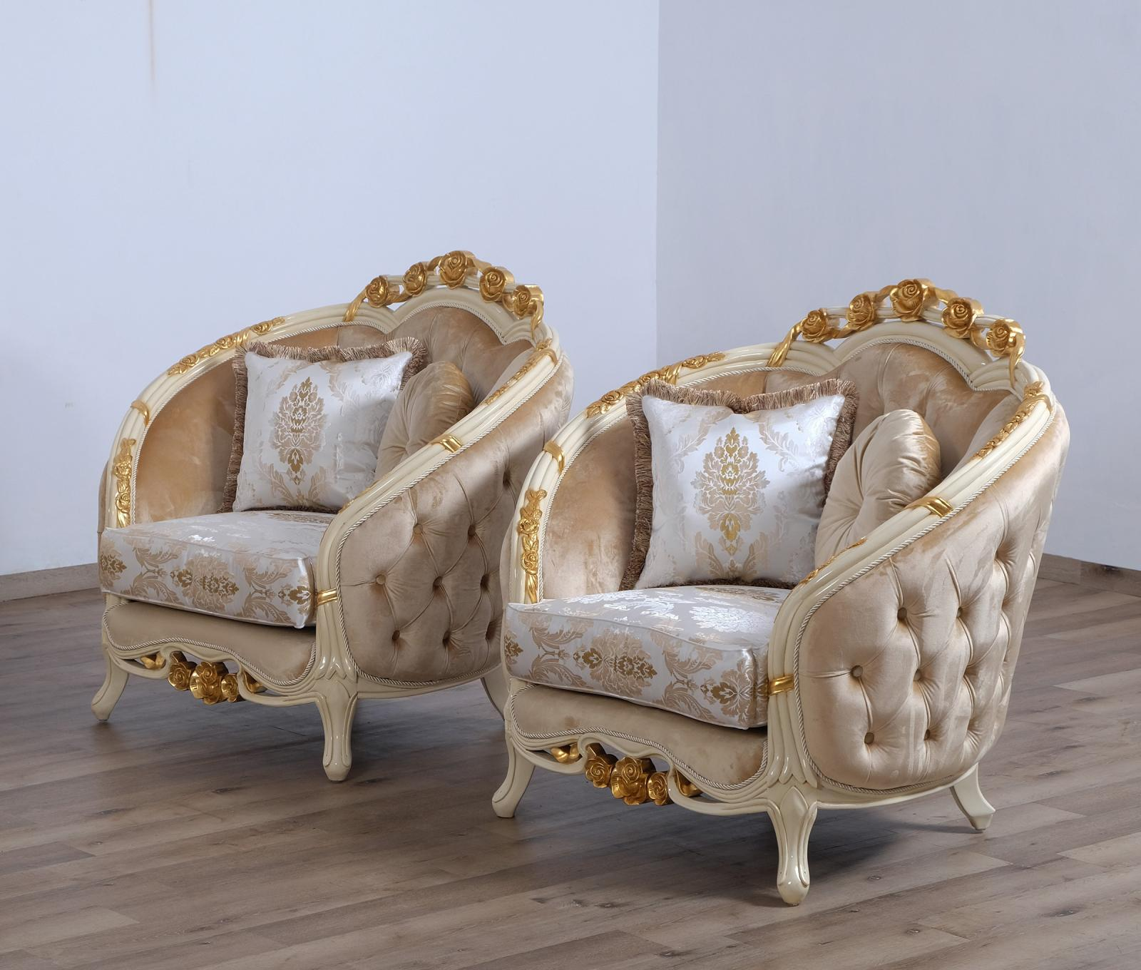 Classic  Traditional Gold  Sand Wood  Solid Hardwood and Fabric Arm Chair Set EUROPEAN FURNITURE 45012-C-Set-2