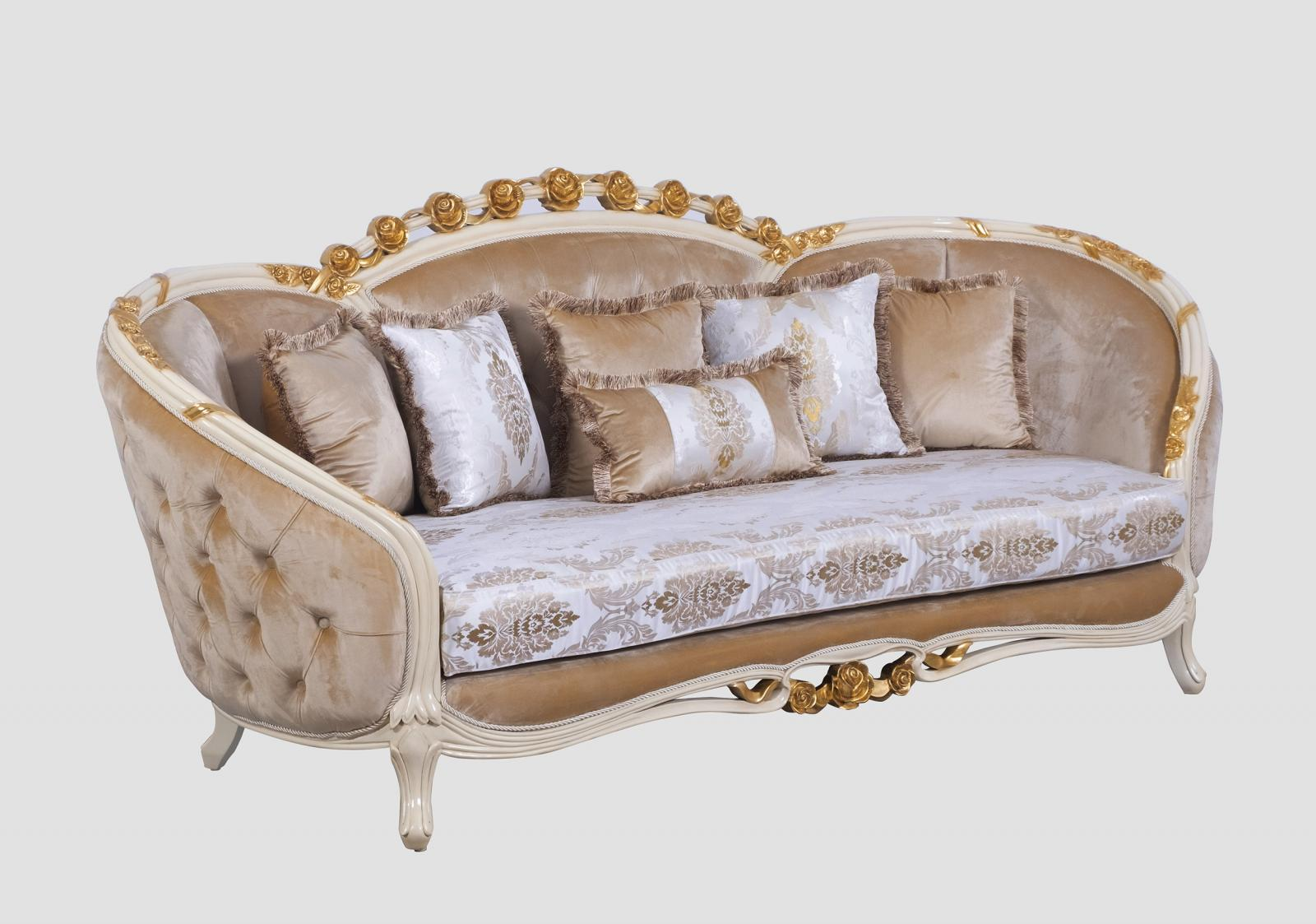 Classic  Traditional Gold  Sand Wood  Solid Hardwood and Fabric Sofa EUROPEAN FURNITURE 45012-S