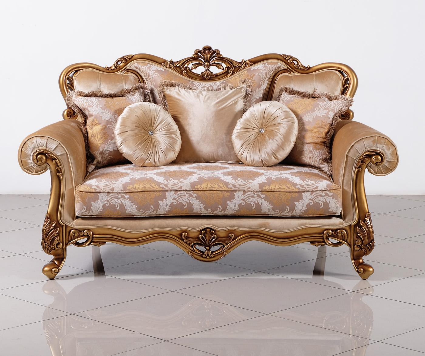 Classic  Traditional Bronze  Gold Wood  Solid Hardwood and Fabric Loveseat EUROPEAN FURNITURE 4798-L