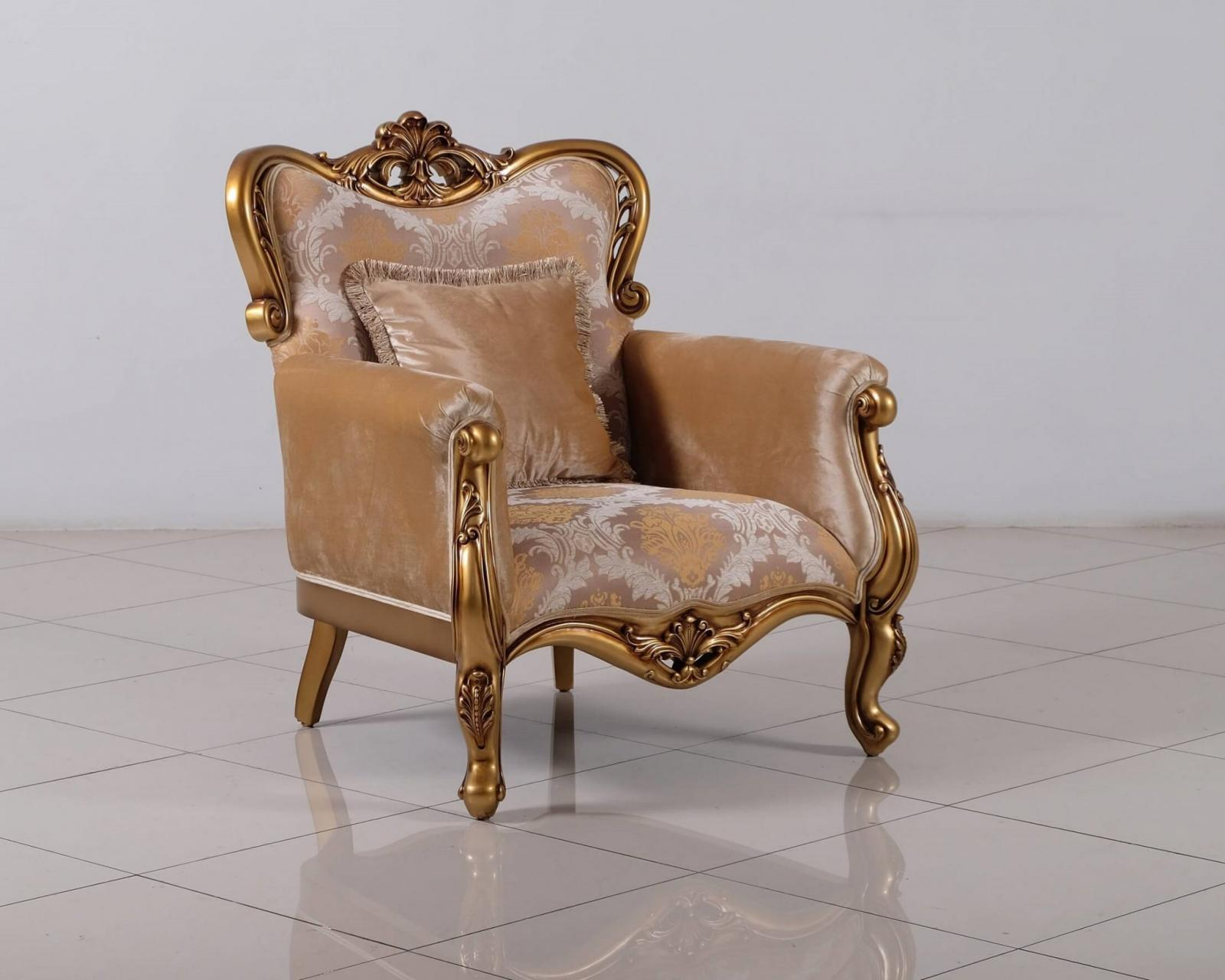Classic  Traditional Bronze  Gold Wood  Solid Hardwood and Fabric Arm Chair EUROPEAN FURNITURE 4798-C
