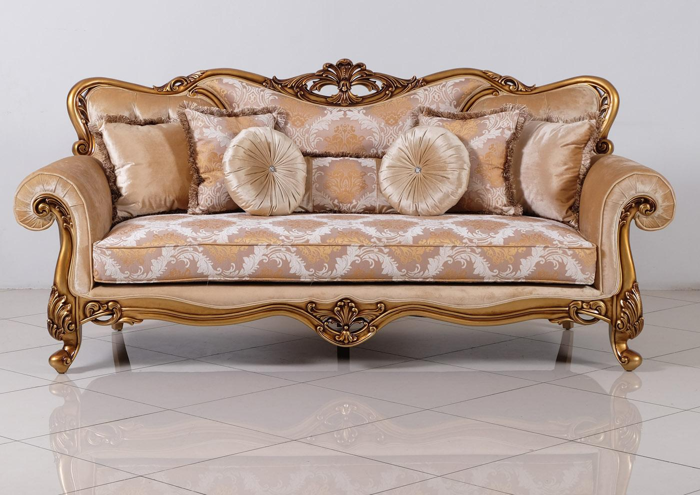 Classic  Traditional Bronze  Gold Wood  Solid Hardwood and Fabric Sofa EUROPEAN FURNITURE 4798-S