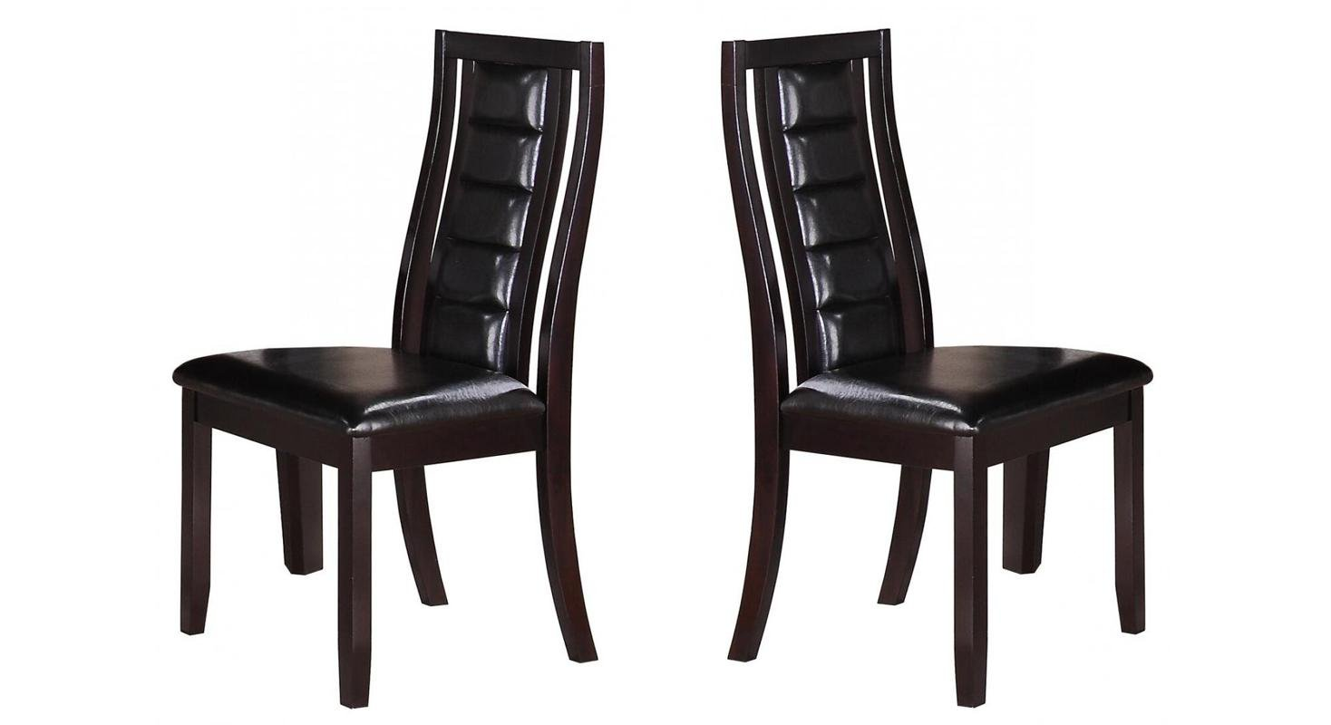 Transitional Espresso Leatherette Dining Side Chair 2 pcs Cosmos Furniture 2025PIERA-Set-2