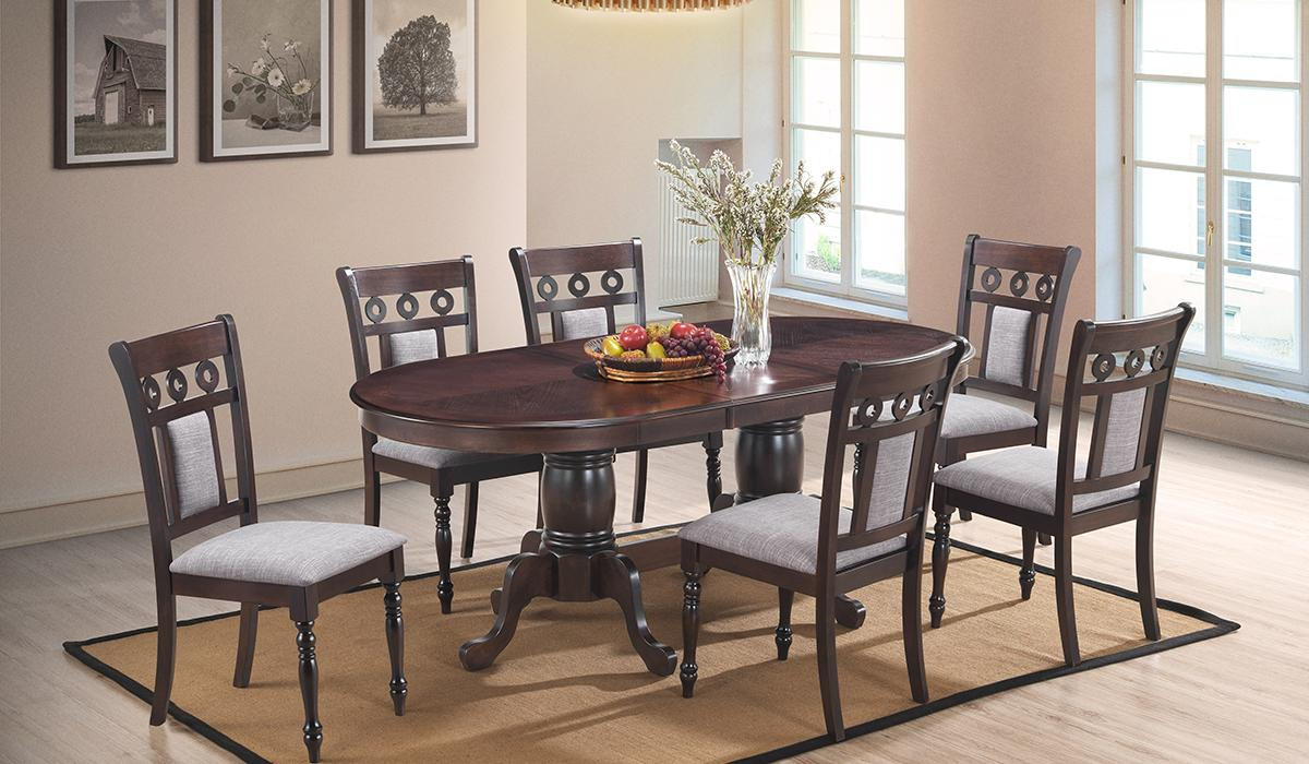 Transitional Brown Fabric Dining Room Set 7 pcs Cosmos Furniture Lakewood-Set-7