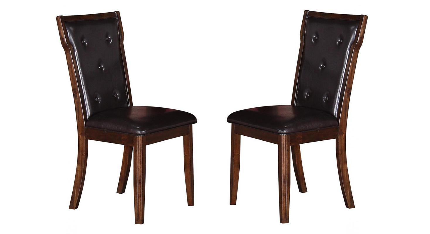 Transitional Espresso Faux Leather Dining Side Chair 2 pcs Cosmos Furniture 2025PIPAM-Set-2