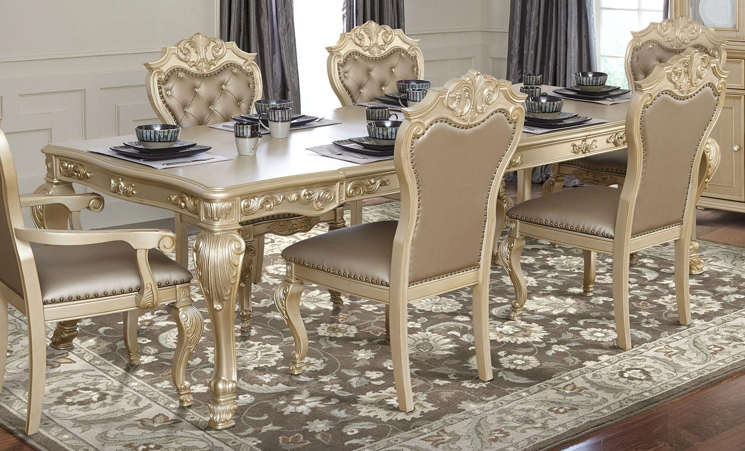 Transitional Gold  Dining Table 1 pcs Cosmos Furniture 2021GOMIR
