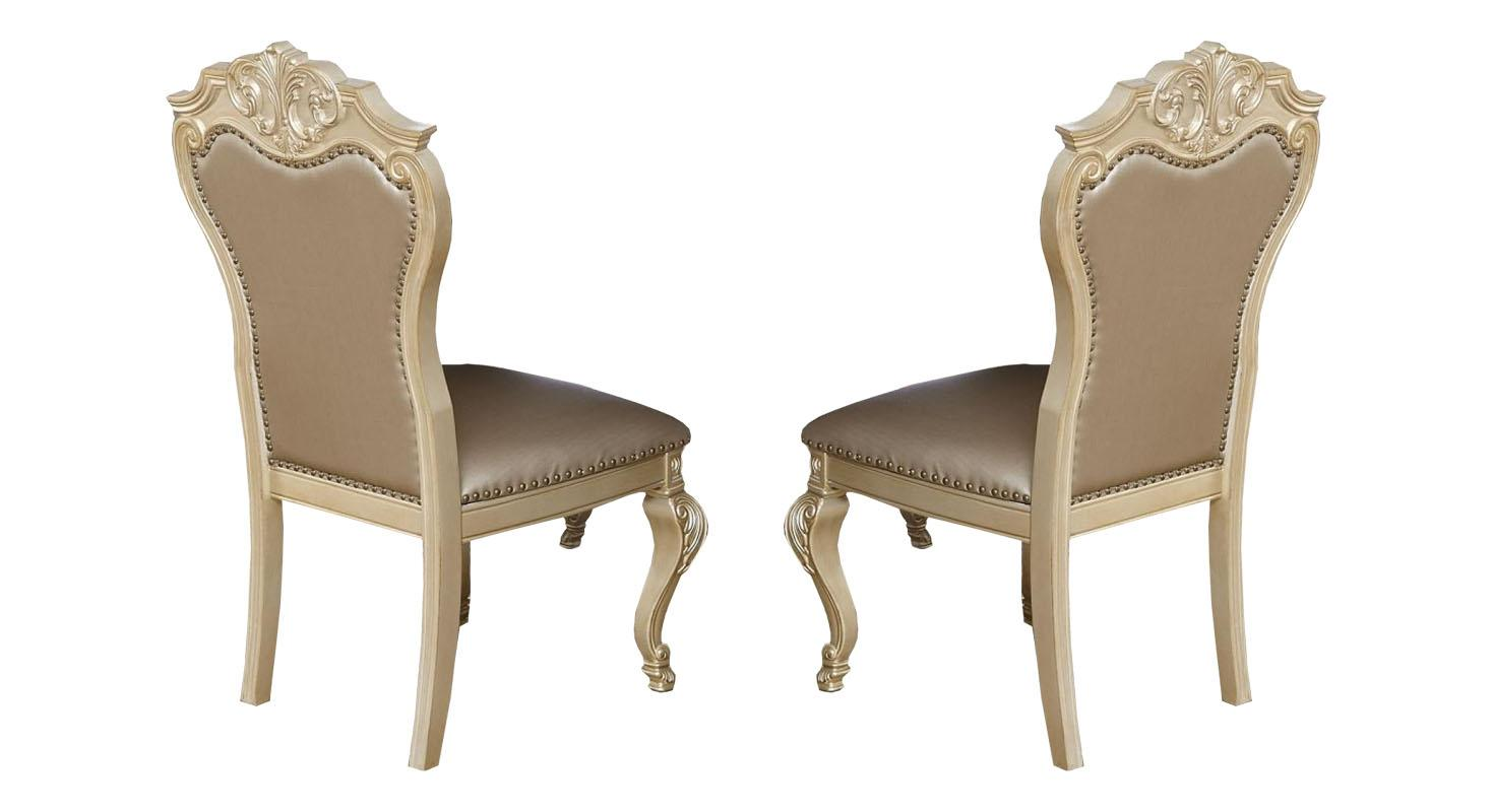 Transitional Gold Faux Leather Dining Side Chair 2 pcs Cosmos Furniture 2035GOMIR-Set-2