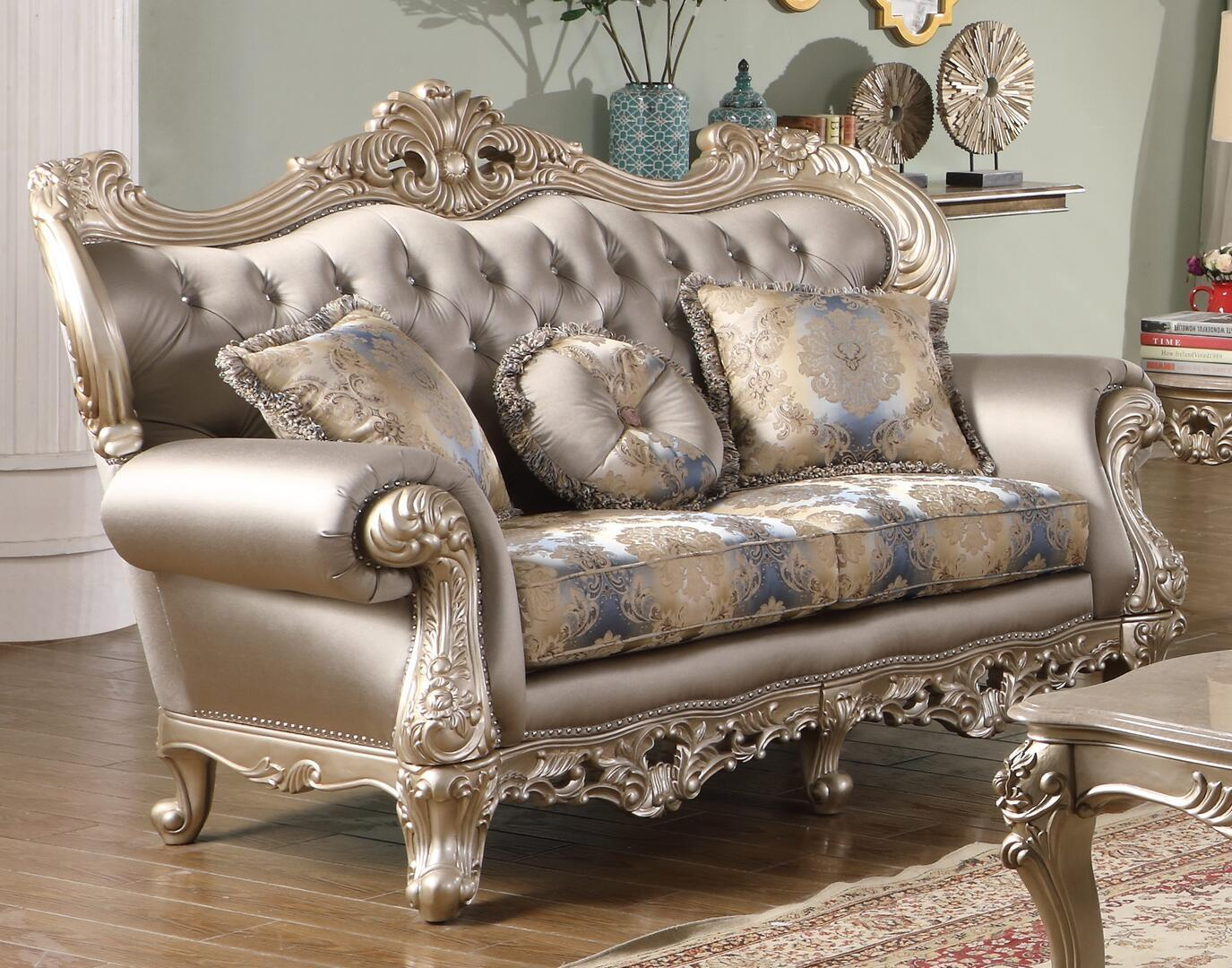 Transitional Silver Faux Leather Loveseat 1 pcs Cosmos Furniture 3036SIARI