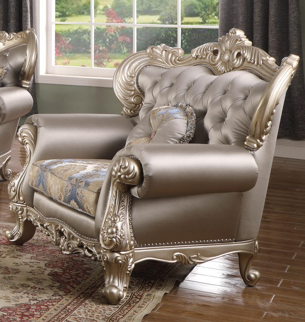 Transitional Silver Faux Leather Arm Chairs 1 pcs Cosmos Furniture 3037SIARI