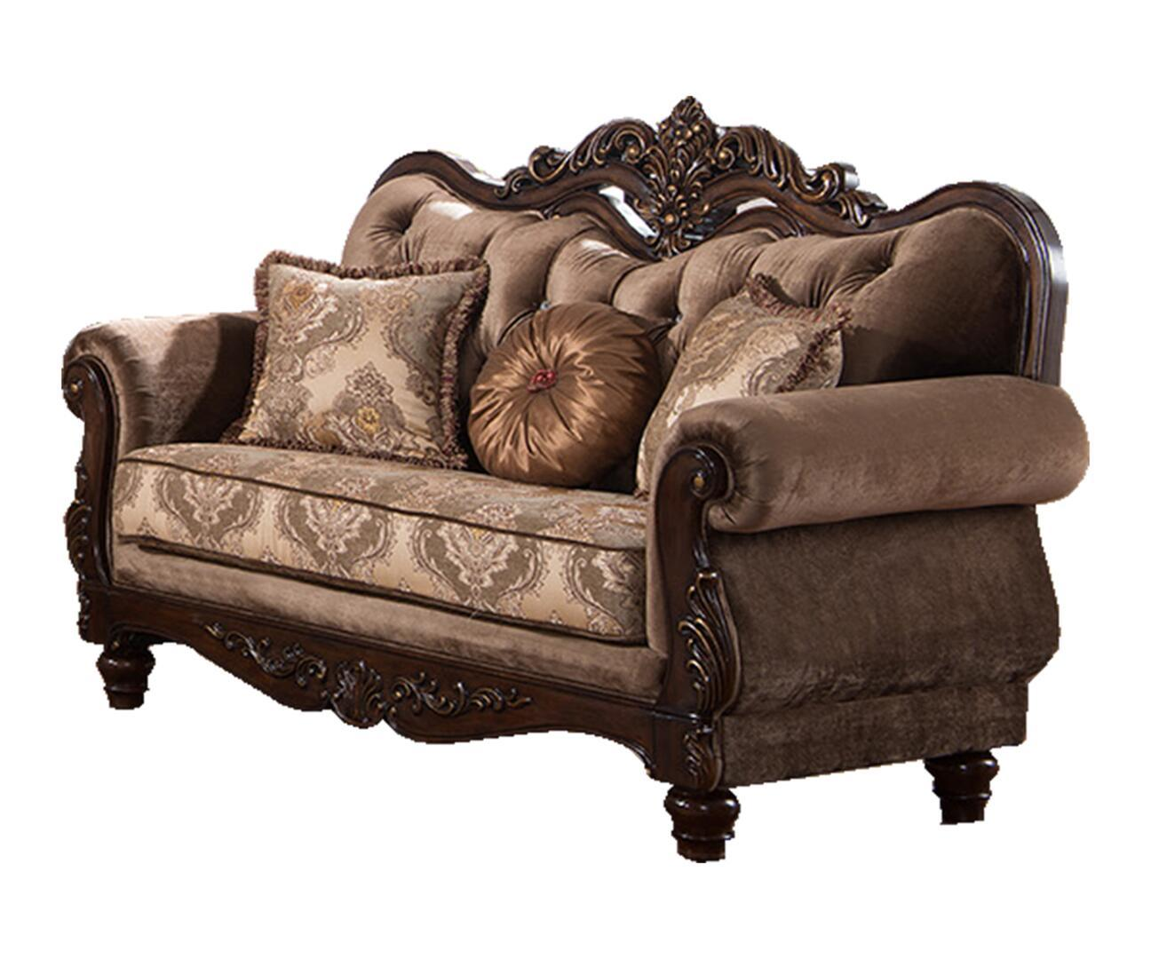 Traditional Cherry Fabric Loveseat 1 pcs Cosmos Furniture 3036PIZOY