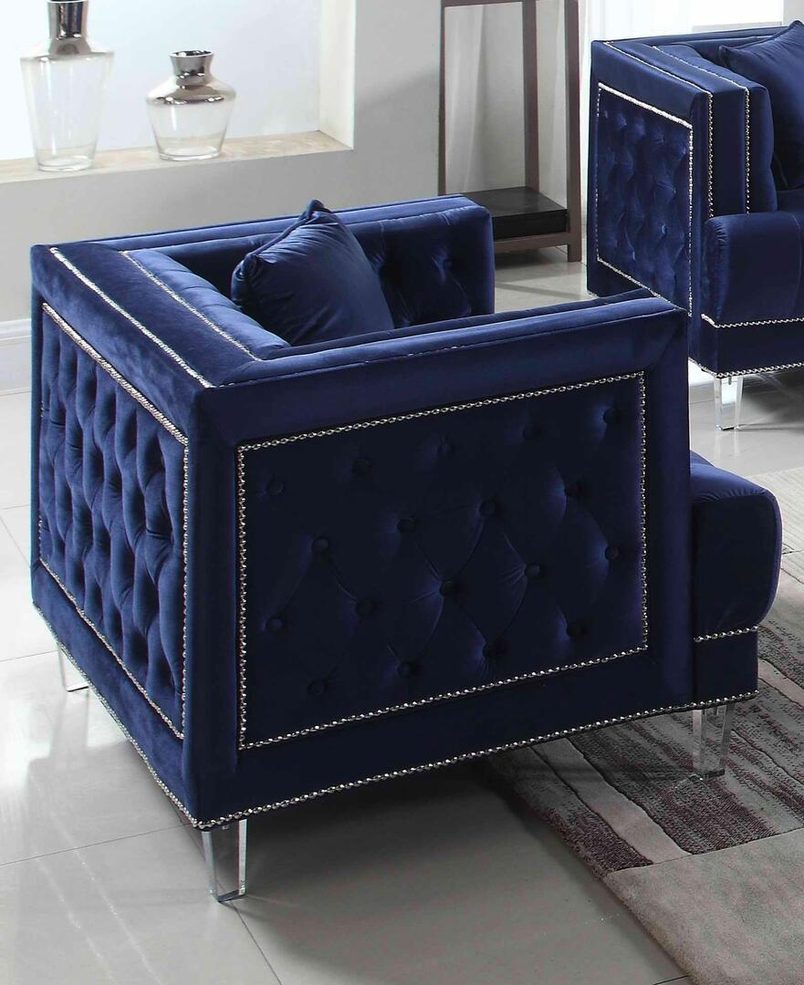 Modern Blue Fabric Arm Chairs 1 pcs Cosmos Furniture 3037BUKEN