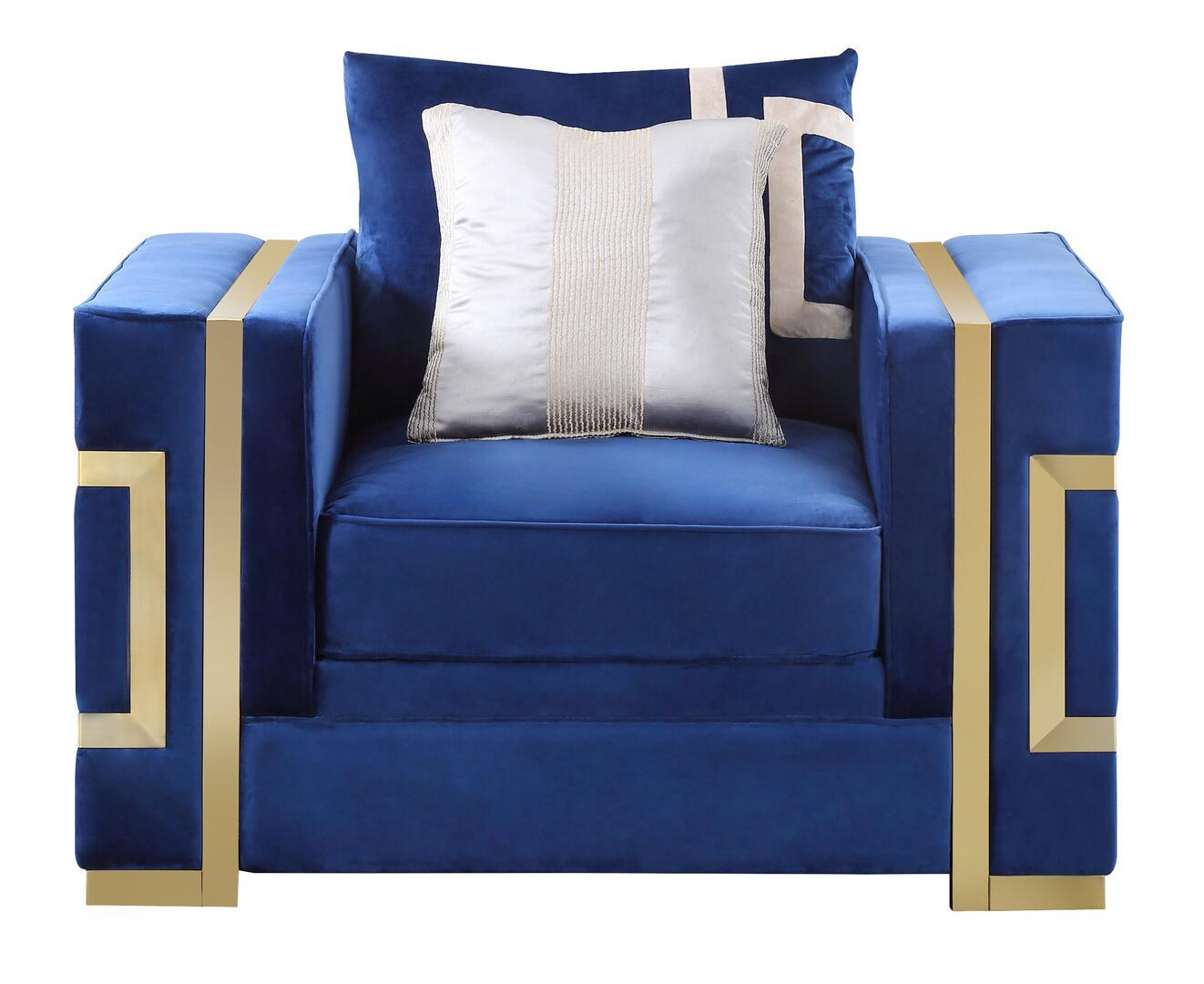 Transitional Blue, Gold Fabric Arm Chairs 1 pcs Cosmos Furniture 30367BLLAW