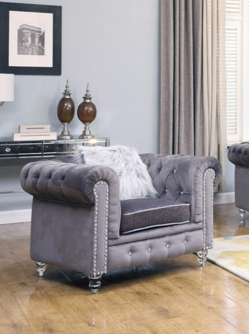 Modern Gray Fabric Arm Chairs 1 pcs Cosmos Furniture 3037GYSAH