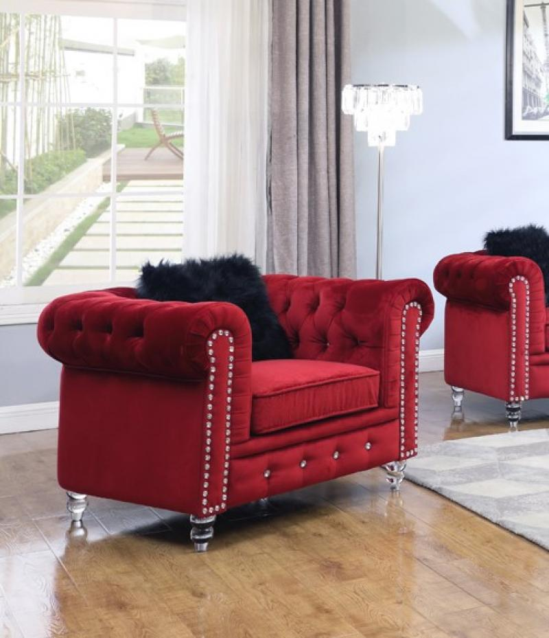 Modern Red Fabric Arm Chairs 1 pcs Cosmos Furniture 3037RESAH