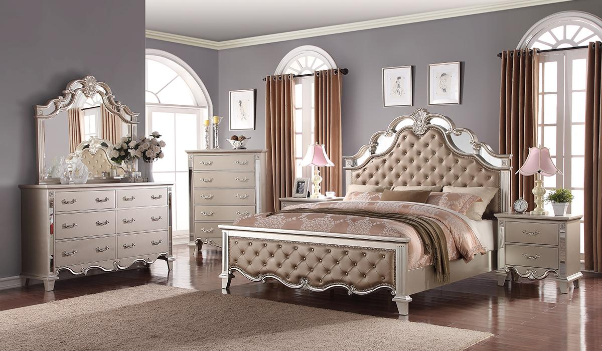 Contemporary Gray, Silver Faux Leather Panel Bedroom Set 5 pcs Cosmos Furniture Sonia-K-Set-5