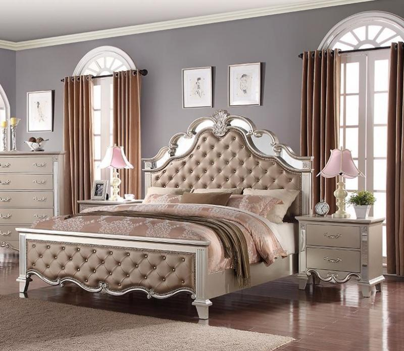 Contemporary Gray, Silver Faux Leather Panel Bedroom Set 3 pcs Cosmos Furniture Sonia-Q-Set-3