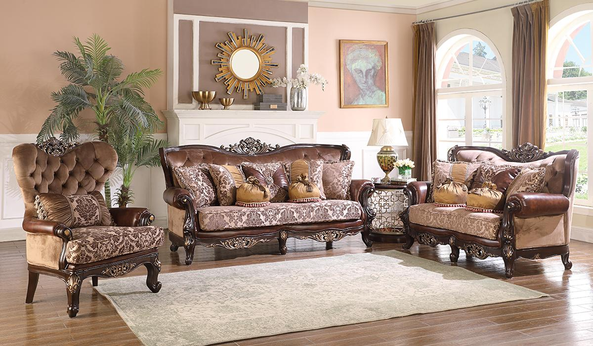 Traditional Cherry Fabric Sofa Loveseat and Chair Set 3 pcs Cosmos Furniture Phoenix-Set-3