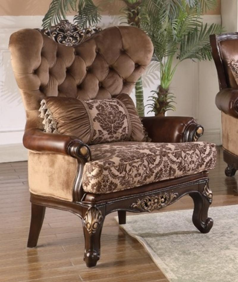 Traditional Cherry Fabric Arm Chairs 1 pcs Cosmos Furniture Phoenix-Chair