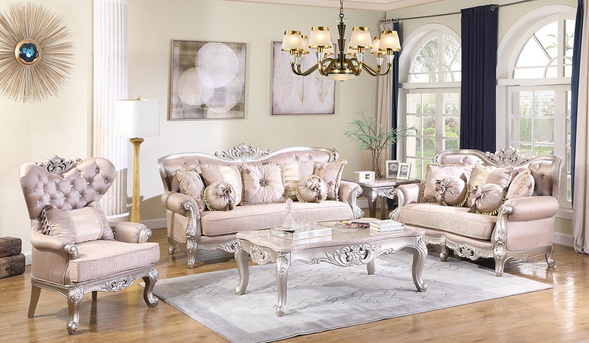Traditional Cream Fabric Sofa Loveseat Chair and Coffee Table 4 pcs Cosmos Furniture Daisy-Set-4