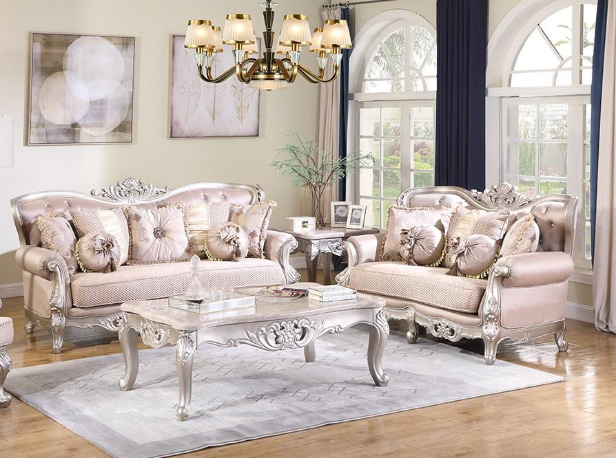Traditional Cream Fabric Sofa and Loveseat Set 2 pcs Cosmos Furniture Daisy-Set-2