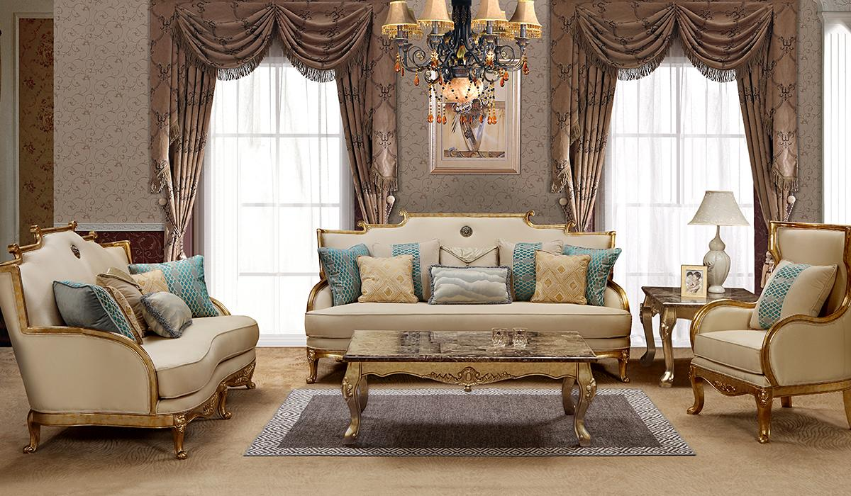 Traditional Gold, Light Beige Fabric Sofa Loveseat Chair and Coffee Table 4 pcs Cosmos Furniture Majestic-Set-4
