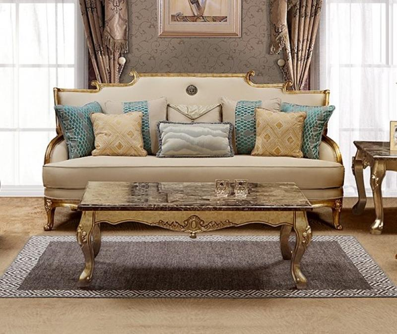 Traditional Gold, Light Beige Fabric Sofa 1 pcs Cosmos Furniture Majestic-Sofa