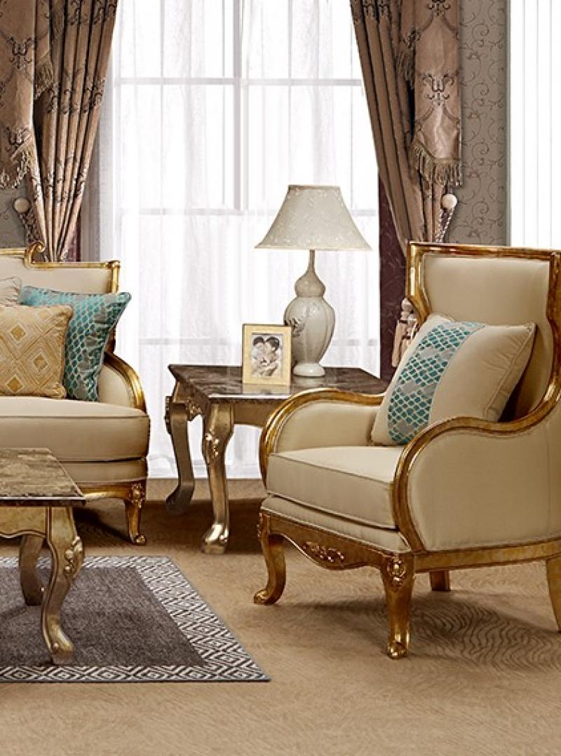 Traditional Gold, Light Beige Fabric Arm Chairs 1 pcs Cosmos Furniture Majestic-Armchair