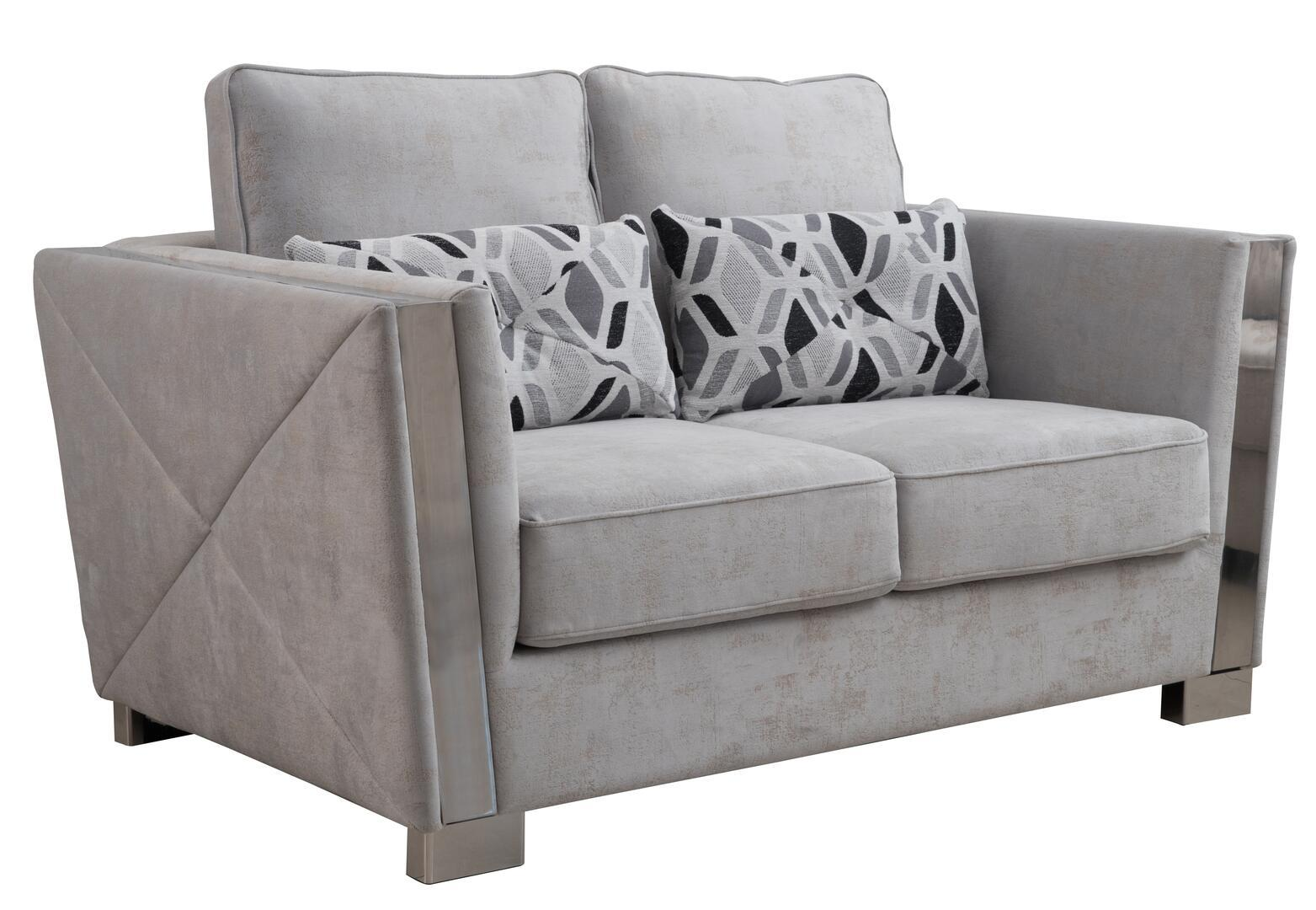 Modern Gray Fabric Loveseat 1 pcs Cosmos Furniture 3036GYKIN