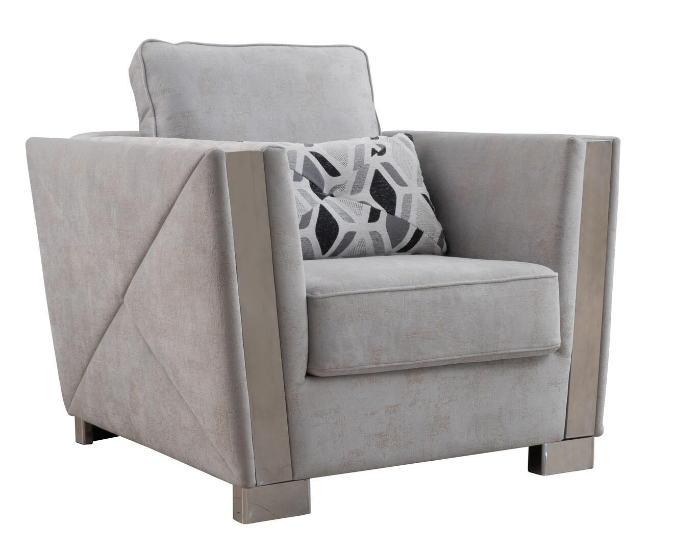 Modern Gray Fabric Arm Chairs 1 pcs Cosmos Furniture 3037GYKIN