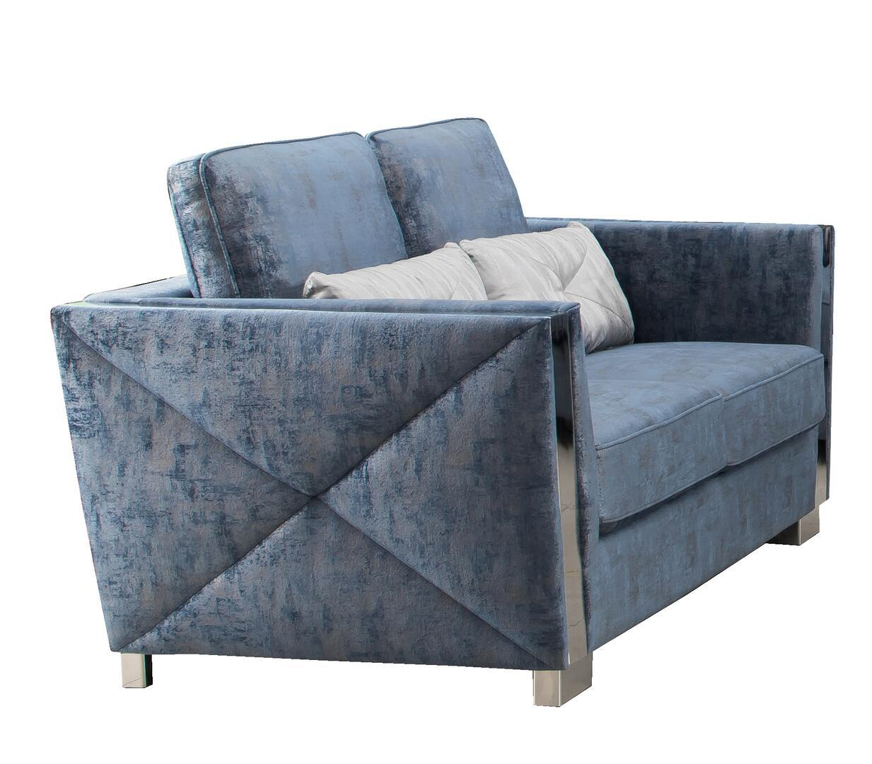 Modern Blue Fabric Loveseat 1 pcs Cosmos Furniture 3036BLKIN