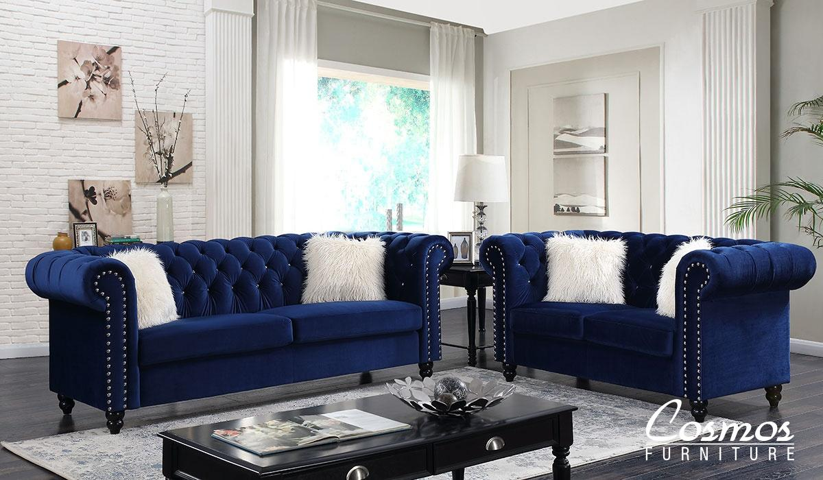 Transitional Blue Fabric Sofa Loveseat and Chair Set 3 pcs Cosmos Furniture Maya-Set-3