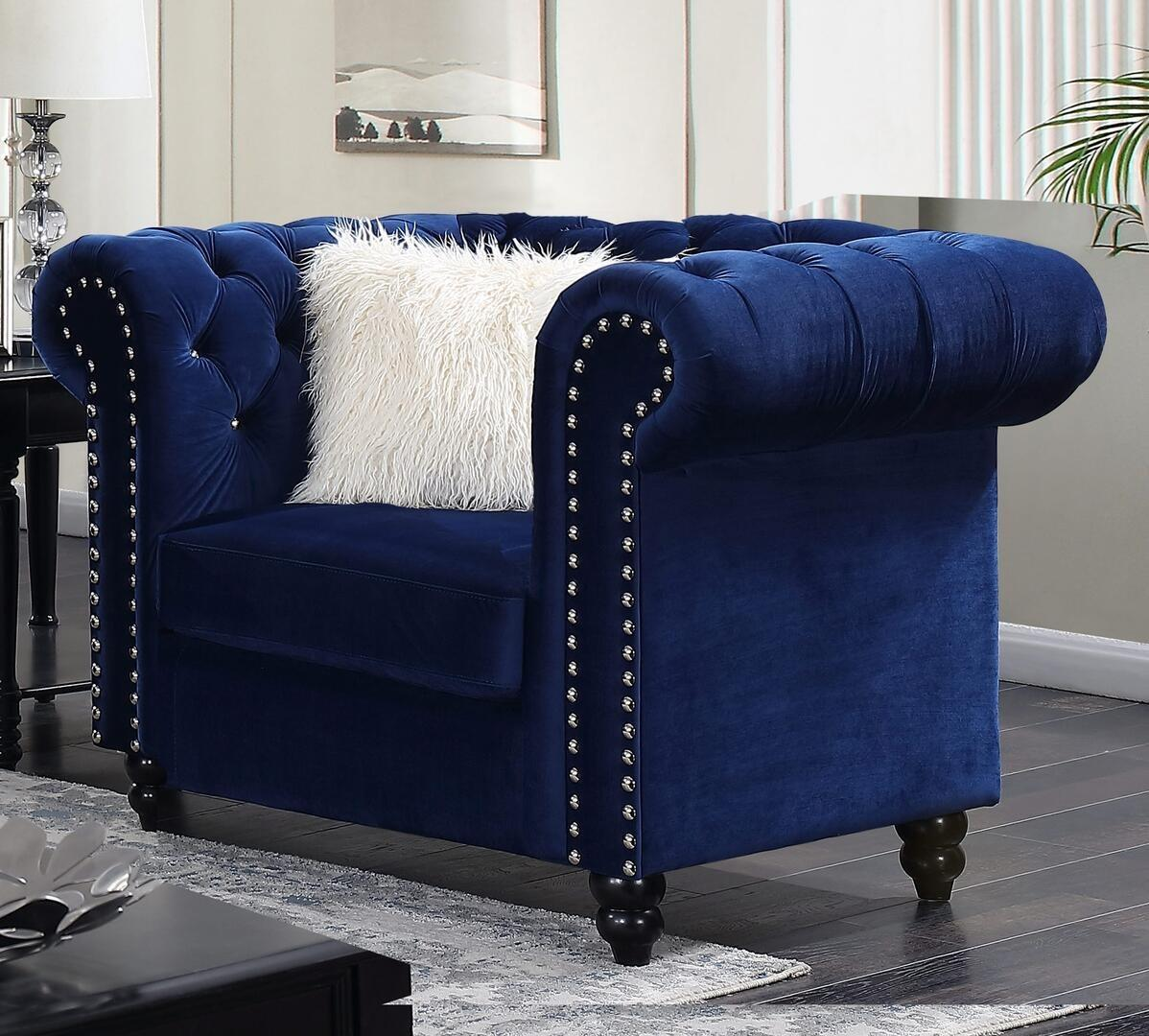 Transitional Blue Fabric Arm Chairs 1 pcs Cosmos Furniture MAYACHAIR