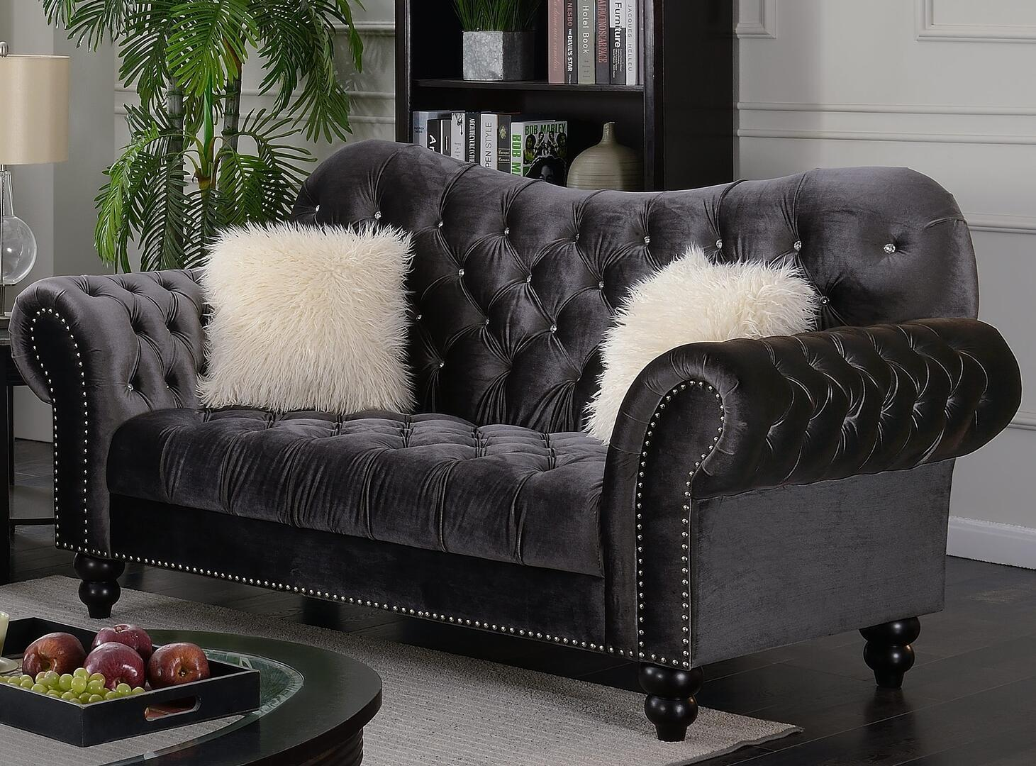 Transitional Gray Fabric Loveseat 1 pcs Cosmos Furniture 3036GYGRA