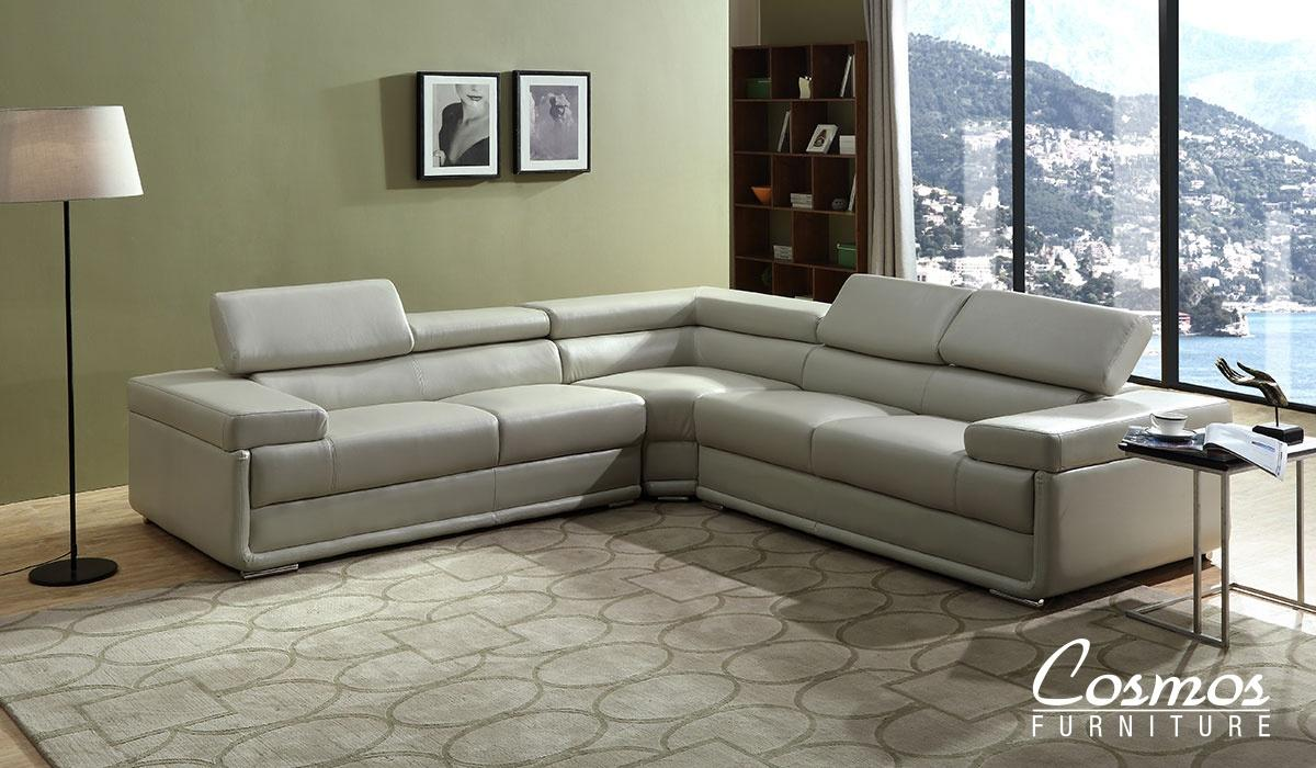 Contemporary Beige Faux Leather Sectional Sofa 3 pcs Cosmos Furniture Zenith-Sectional
