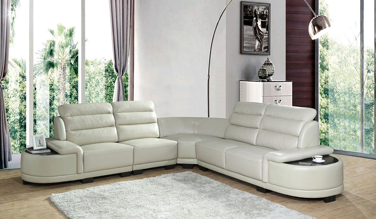 Contemporary Ivory Faux Leather Sectional Sofa 5 pcs Cosmos Furniture Orchid-Sectional