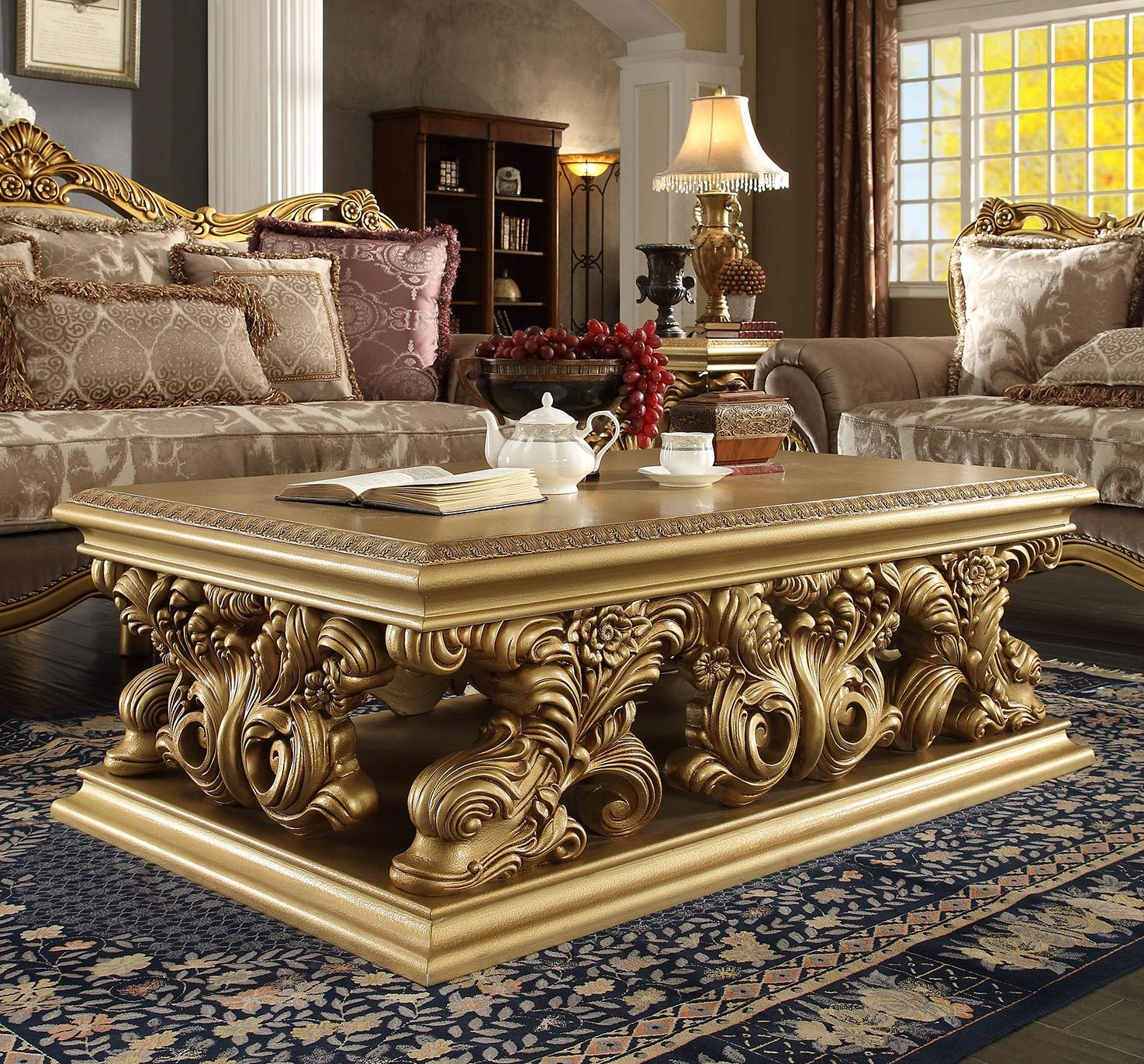 Traditional Gold Finish  and Wood Coffee Table 1 pcs HD-8016  by Homey Design