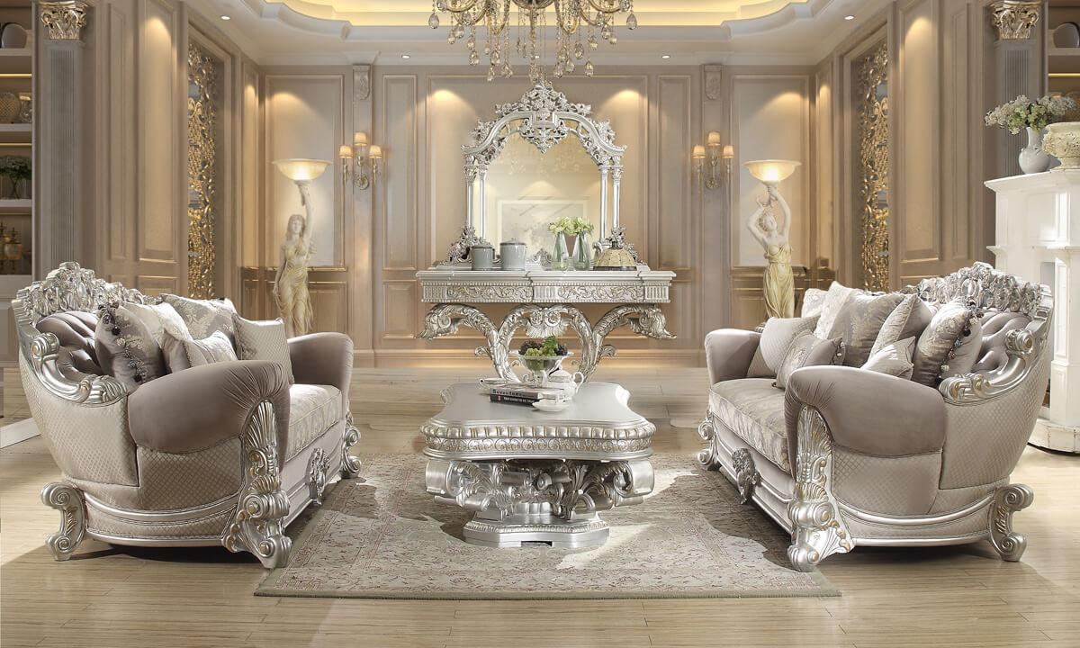 Traditional Silver, Metallic Fabric and Wood Sofa and Loveseat Set 2 pcs HD-372  by Homey Design
