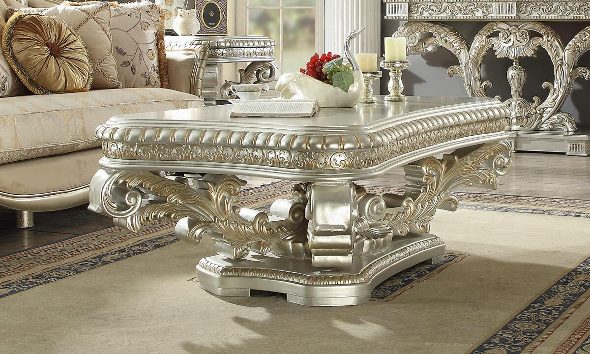 Traditional Silver  and Wood Coffee Table 1 pcs HD-8088  by Homey Design